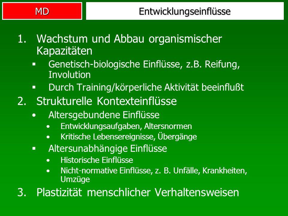 MDEntwicklungseinflüsse 1.Wachstum und Abbau organismischer Kapazitäten Genetisch-biologische Einflüsse, z.B. Reifung, Involution Durch Training/körpe