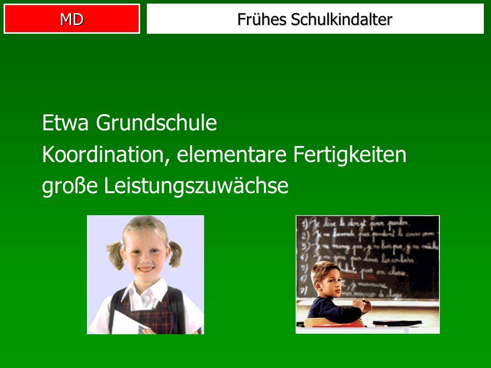 MD Frühes Schulkindalter Etwa Grundschule Koordination, elementare Fertigkeiten große Leistungszuwächse