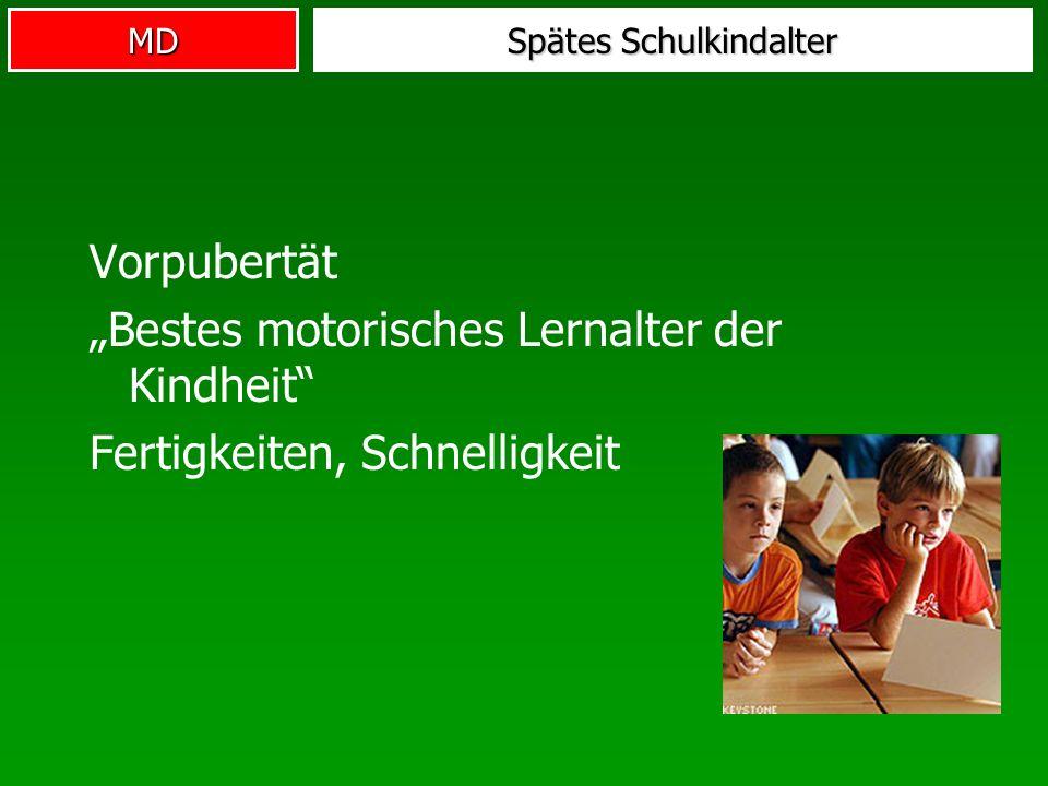 MD Spätes Schulkindalter Vorpubertät Bestes motorisches Lernalter der Kindheit Fertigkeiten, Schnelligkeit