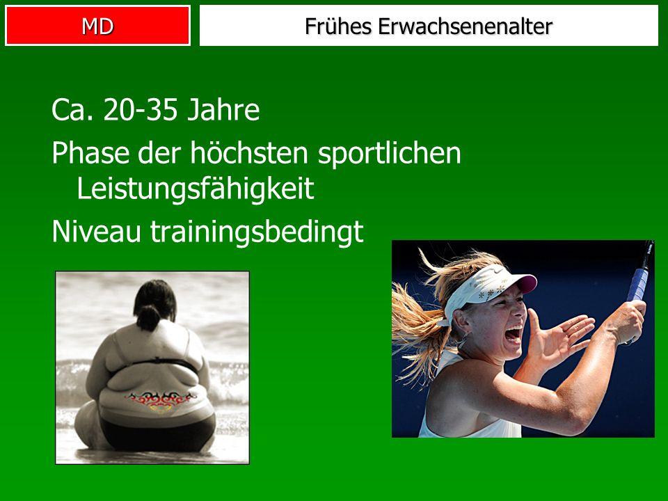 MD Frühes Erwachsenenalter Ca. 20-35 Jahre Phase der höchsten sportlichen Leistungsfähigkeit Niveau trainingsbedingt