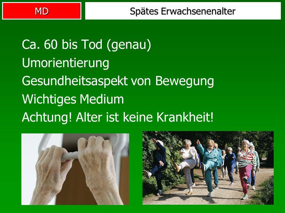 MD Spätes Erwachsenenalter Ca. 60 bis Tod (genau) Umorientierung Gesundheitsaspekt von Bewegung Wichtiges Medium Achtung! Alter ist keine Krankheit!