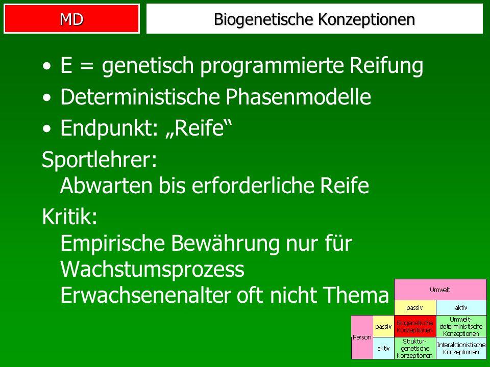 MD Biogenetische Konzeptionen E = genetisch programmierte Reifung Deterministische Phasenmodelle Endpunkt: Reife Sportlehrer: Abwarten bis erforderlic