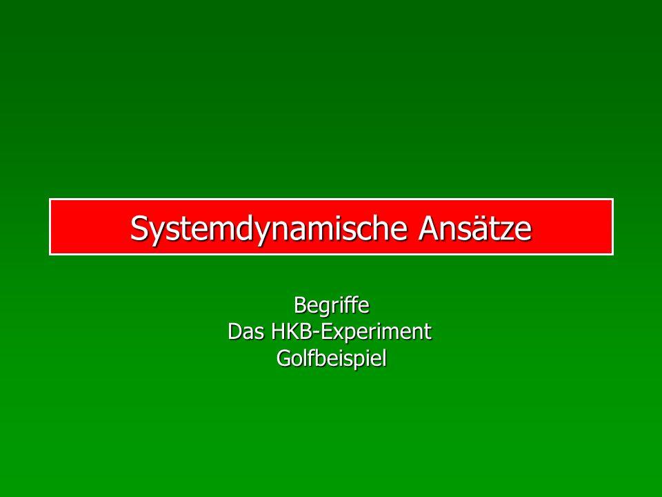 Systemdynamische Ansätze Begriffe Das HKB-Experiment Golfbeispiel