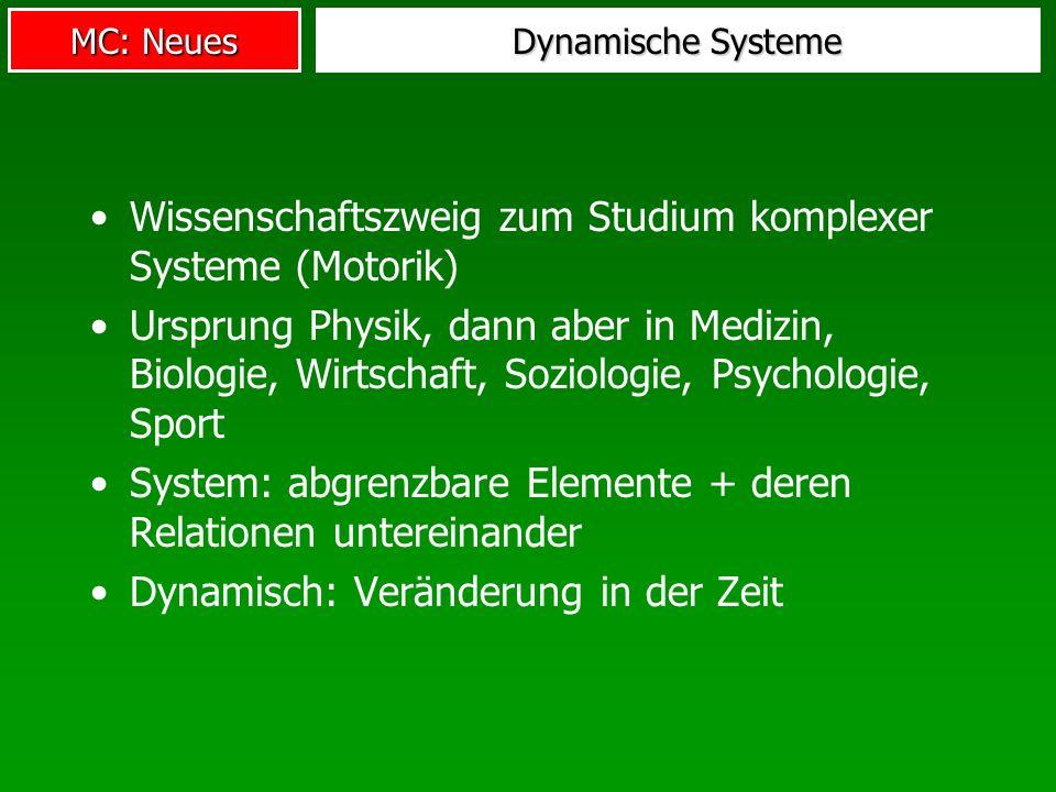 MC: Neues Dynamische Systeme Wissenschaftszweig zum Studium komplexer Systeme (Motorik) Ursprung Physik, dann aber in Medizin, Biologie, Wirtschaft, S