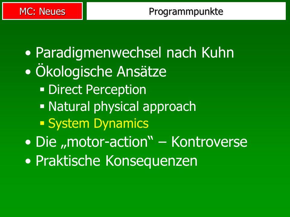 MC: Neues Programmpunkte Paradigmenwechsel nach Kuhn Ökologische Ansätze Direct Perception Natural physical approach System Dynamics Die motor-action
