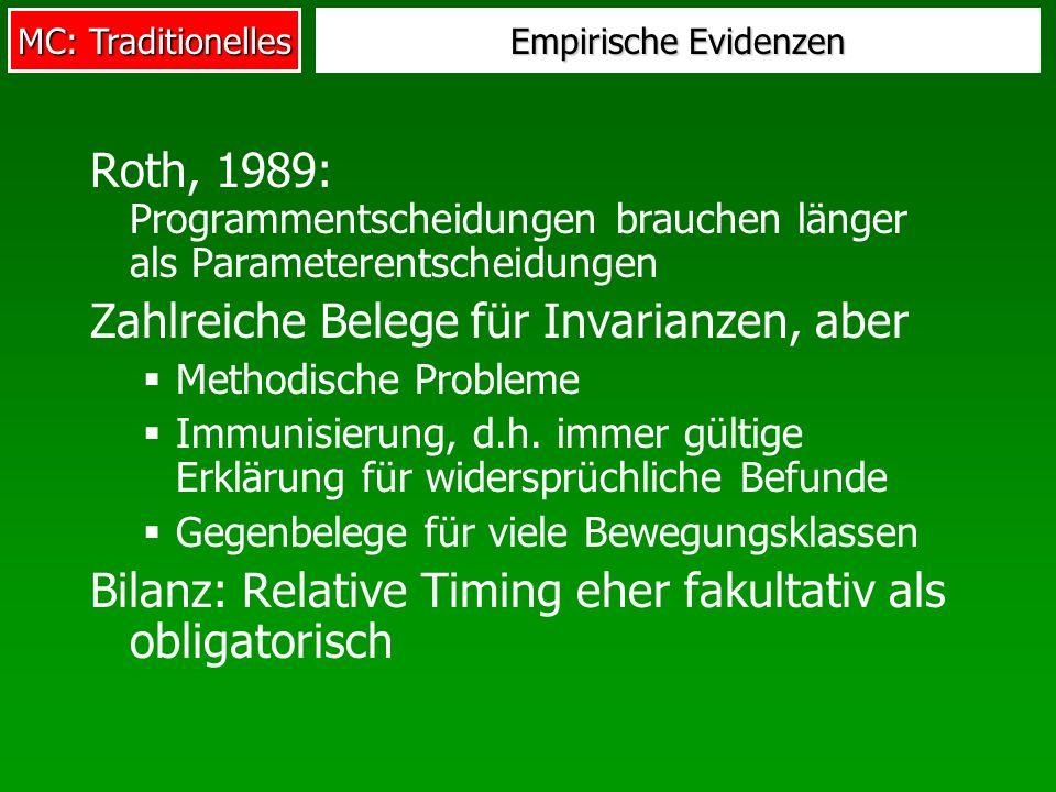 MC: Traditionelles Empirische Evidenzen Roth, 1989: Programmentscheidungen brauchen länger als Parameterentscheidungen Zahlreiche Belege für Invarianzen, aber Methodische Probleme Immunisierung, d.h.