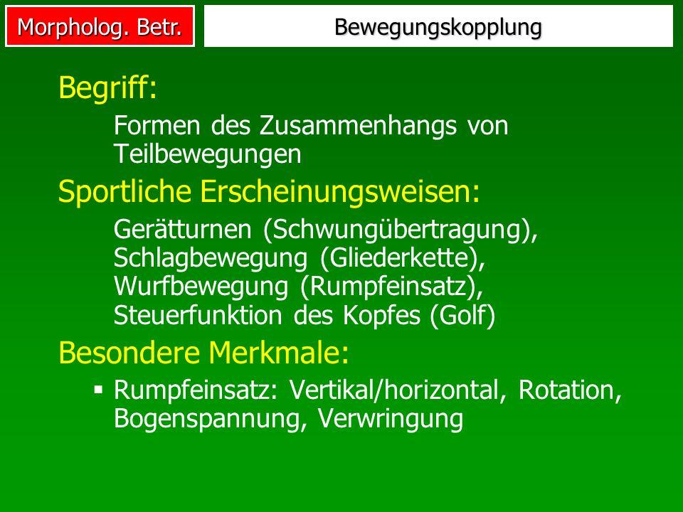 Morpholog. Betr. Bewegungskopplung Begriff: Formen des Zusammenhangs von Teilbewegungen Sportliche Erscheinungsweisen: Gerätturnen (Schwungübertragung
