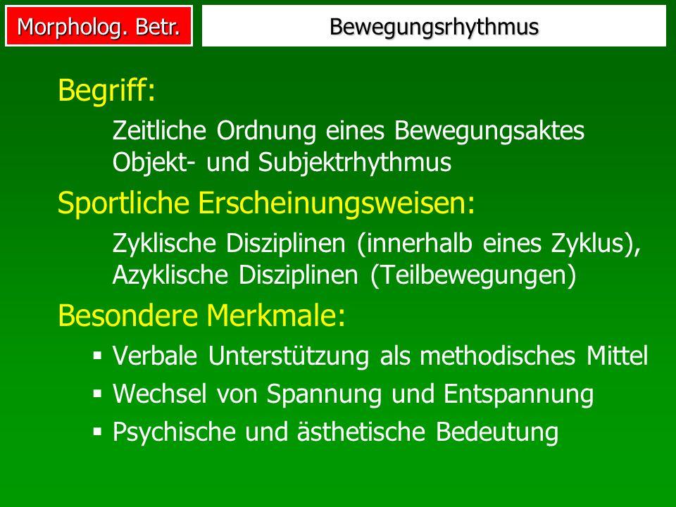 Morpholog. Betr. Bewegungsrhythmus Begriff: Zeitliche Ordnung eines Bewegungsaktes Objekt- und Subjektrhythmus Sportliche Erscheinungsweisen: Zyklisch