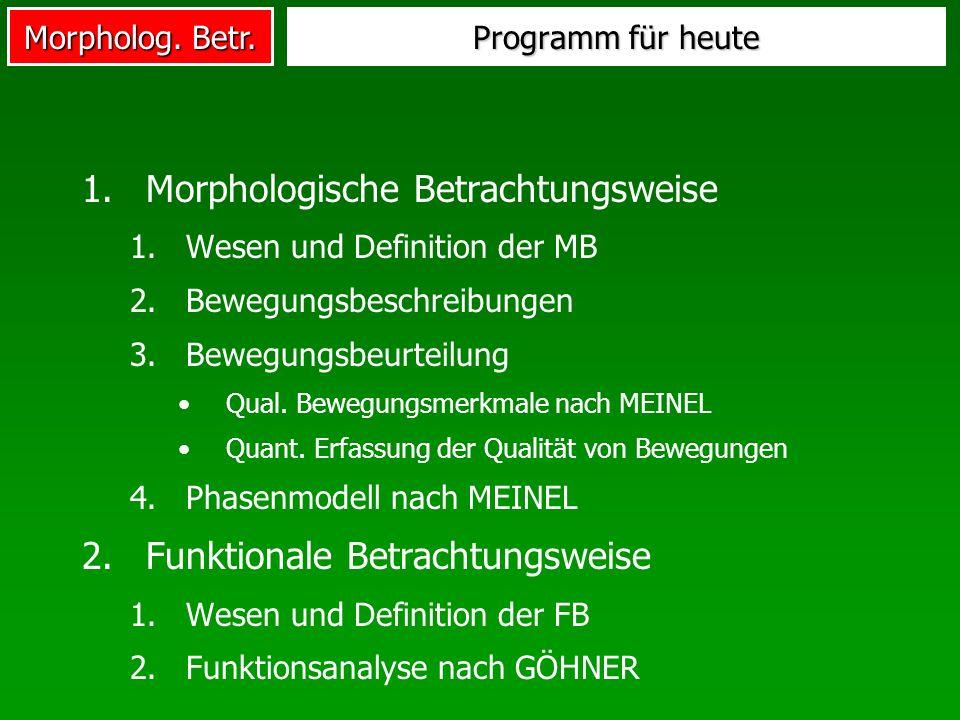 Morpholog. Betr. 1.Morphologische Betrachtungsweise 1.Wesen und Definition der MB 2.Bewegungsbeschreibungen 3.Bewegungsbeurteilung Qual. Bewegungsmerk