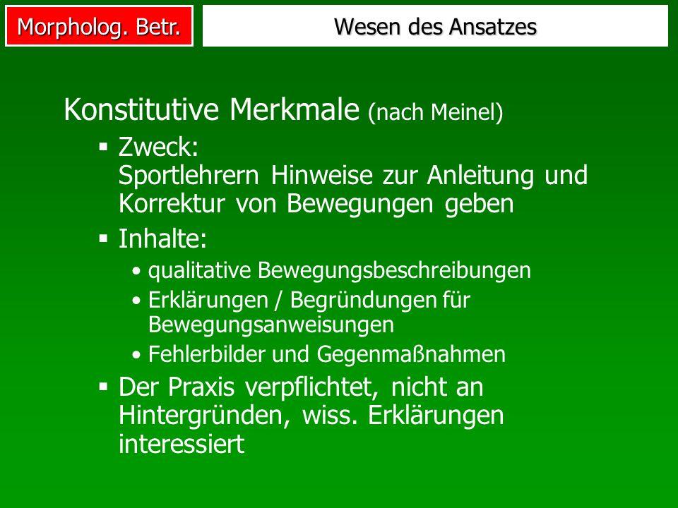 Morpholog. Betr. Konstitutive Merkmale (nach Meinel) Zweck: Sportlehrern Hinweise zur Anleitung und Korrektur von Bewegungen geben Inhalte: qualitativ