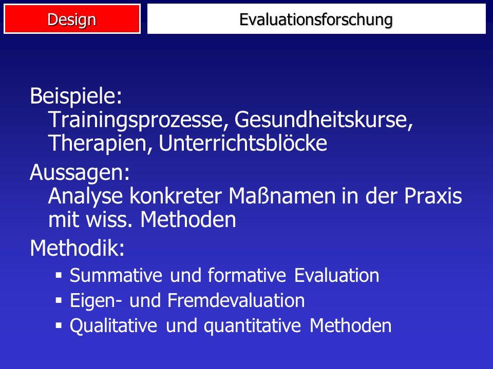 DesignEvaluationsforschung Evaluationsforschung ist die systematische Anwendung wissenschaftlicher Methoden zur Bewertung einer sozialen Intervention