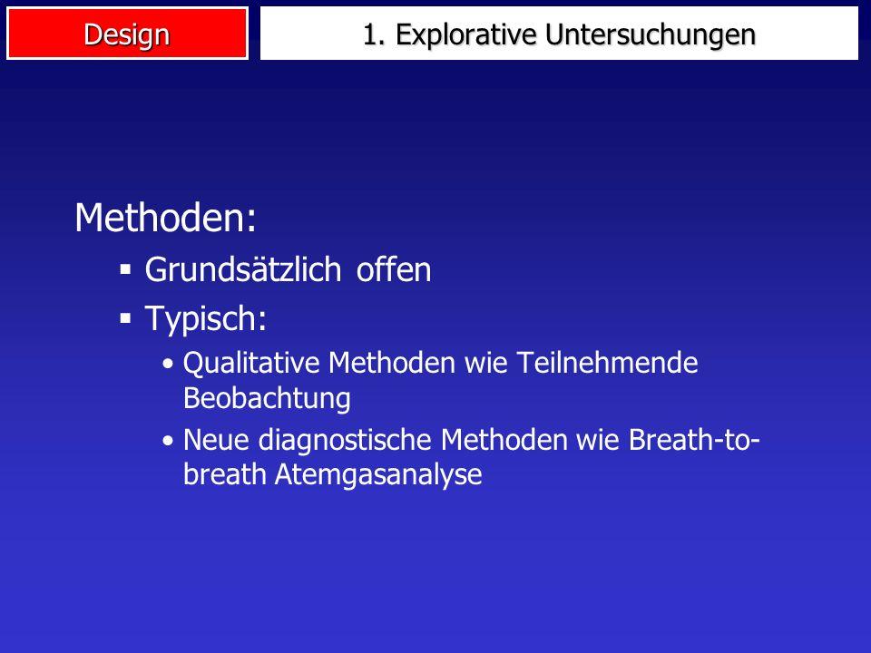 Design 1. Explorative Untersuchungen Indikation: Wenig Vorkenntnisse Sachverhalt/Realitätsausschnitt noch wenig bekannt/erforscht Historische Beispiel