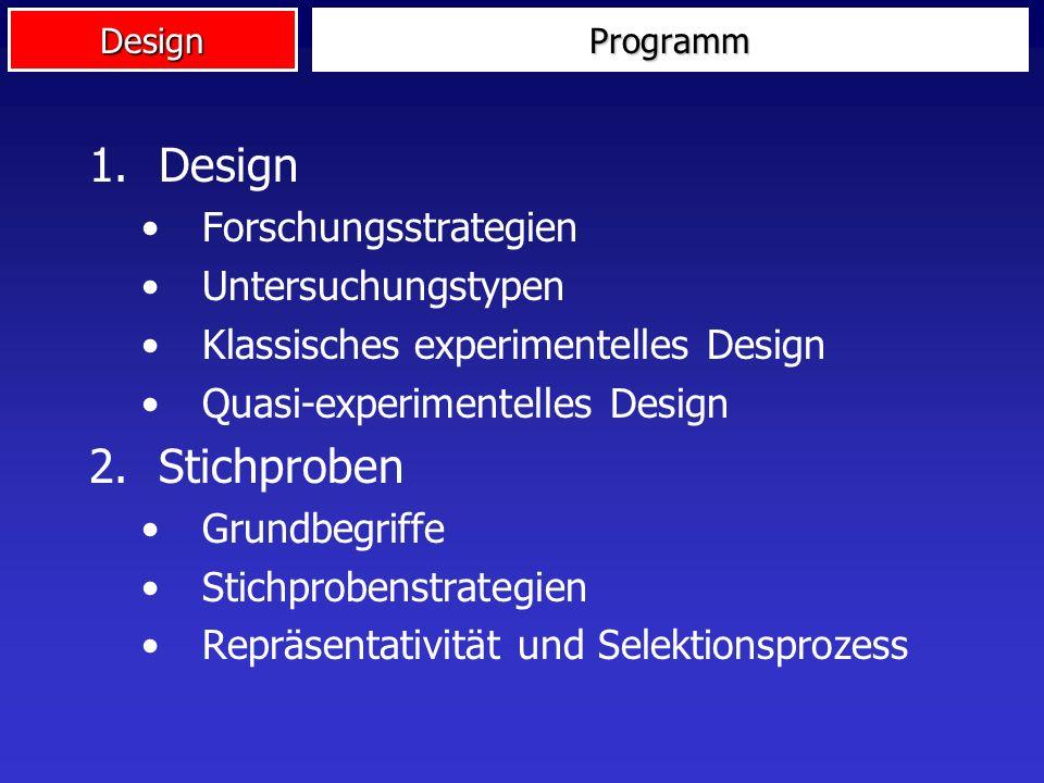 DesignProgramm 1.Design Forschungsstrategien Untersuchungstypen Klassisches experimentelles Design Quasi-experimentelles Design 2.Stichproben Grundbegriffe Stichprobenstrategien Repräsentativität und Selektionsprozess