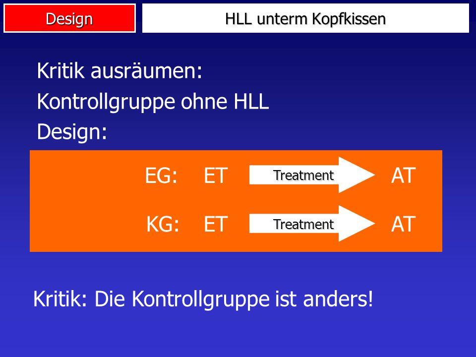 Design HLL unterm Kopfkissen Kritik ausräumen: Verbesserung in Vorher-Nachher-Messung Design: Kritik: Es war ein anderes Treatment als HLL! Treatment