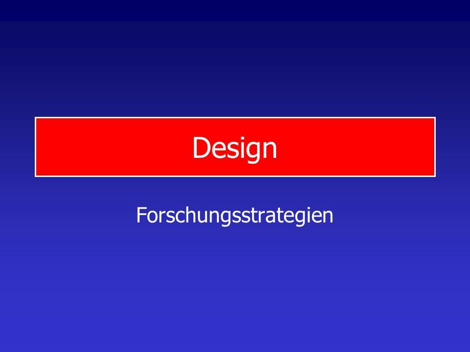 DesignProgramm 1.Design Forschungsstrategien Untersuchungstypen Klassisches experimentelles Design Quasi-experimentelles Design 2.Stichproben Grundbeg