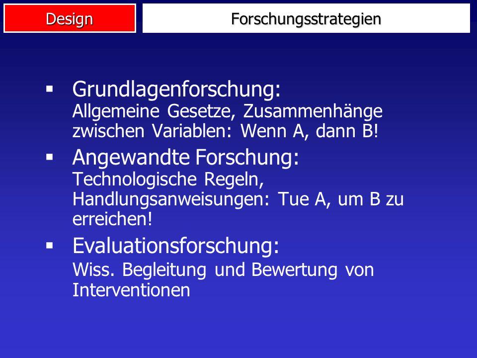 DesignForschungsstrategien Grundlagenforschung: Allgemeine Gesetze, Zusammenhänge zwischen Variablen: Wenn A, dann B.