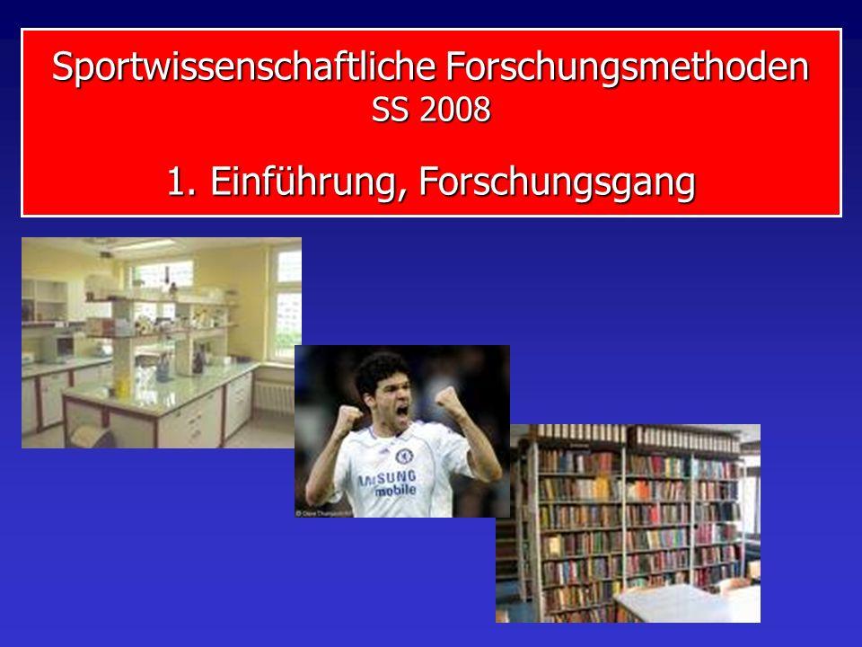 Sportwissenschaftliche Forschungsmethoden SS 2008 1. Einführung, Forschungsgang