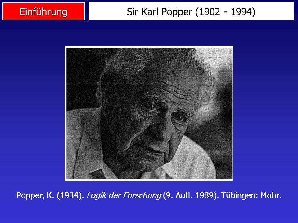 EinführungSir Karl Popper (1902 - 1994) Popper, K. (1934). Logik der Forschung (9. Aufl. 1989). Tübingen: Mohr.