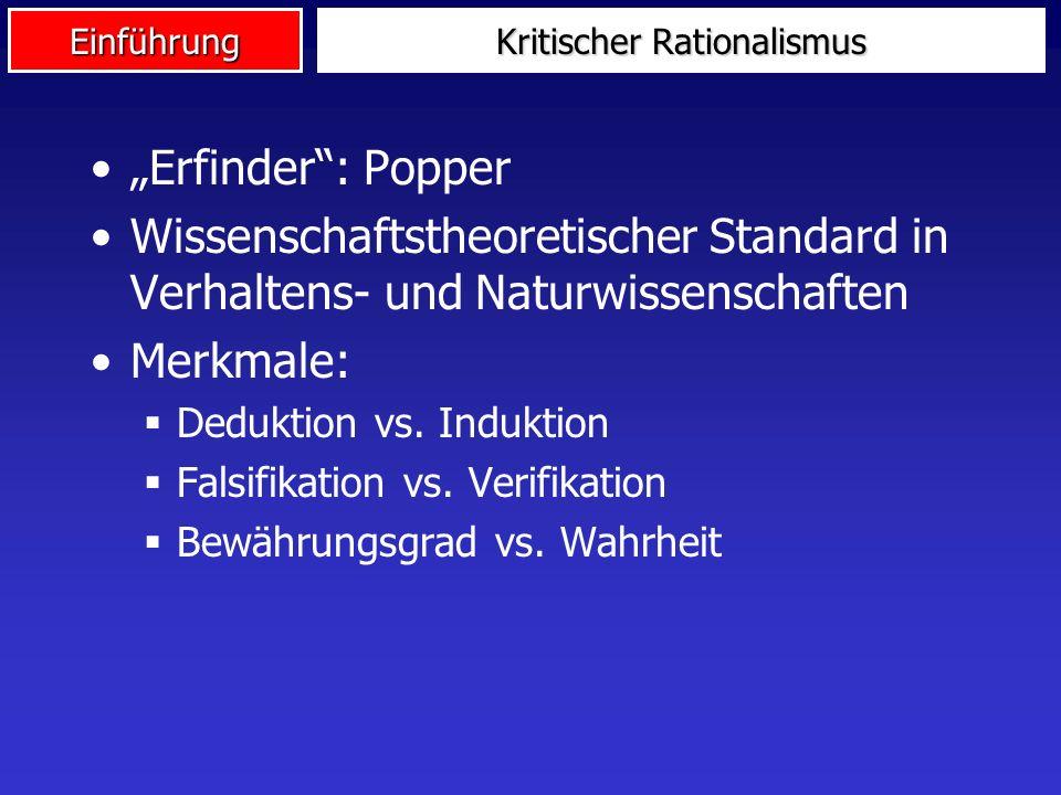 Einführung Kritischer Rationalismus Erfinder: Popper Wissenschaftstheoretischer Standard in Verhaltens- und Naturwissenschaften Merkmale: Deduktion vs