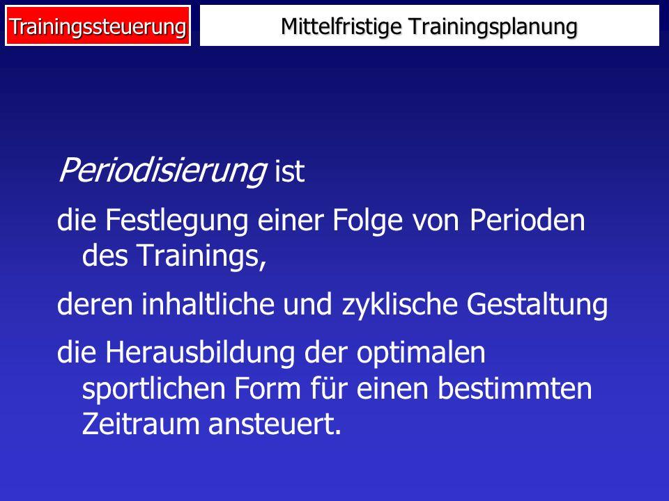 Trainingssteuerung Periodisierung ist die Festlegung einer Folge von Perioden des Trainings, deren inhaltliche und zyklische Gestaltung die Herausbild