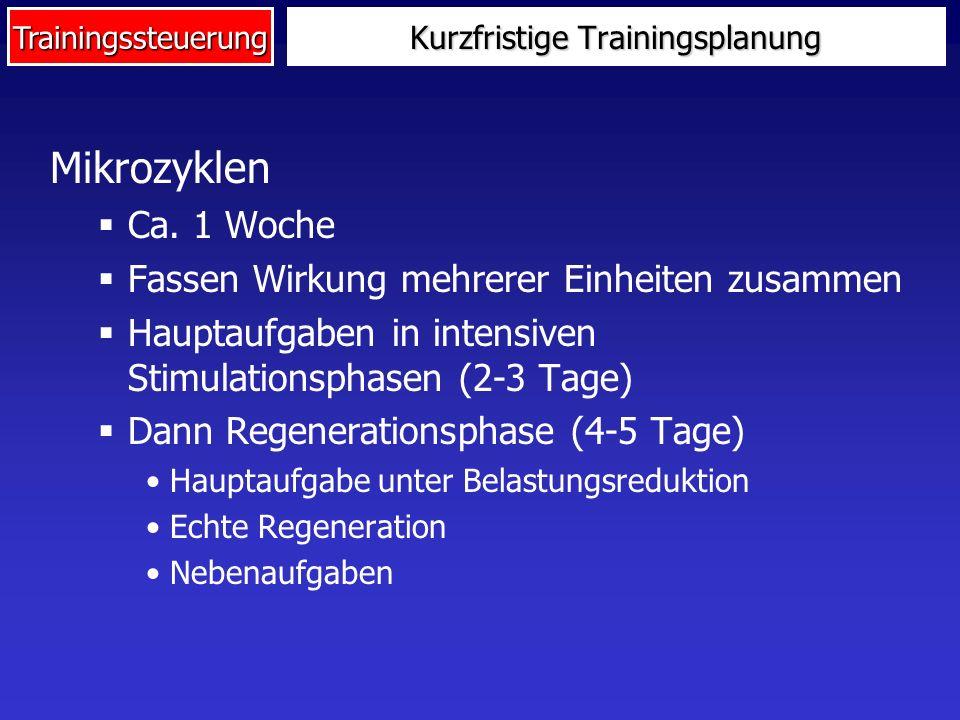 Trainingssteuerung Mikrozyklen Ca. 1 Woche Fassen Wirkung mehrerer Einheiten zusammen Hauptaufgaben in intensiven Stimulationsphasen (2-3 Tage) Dann R