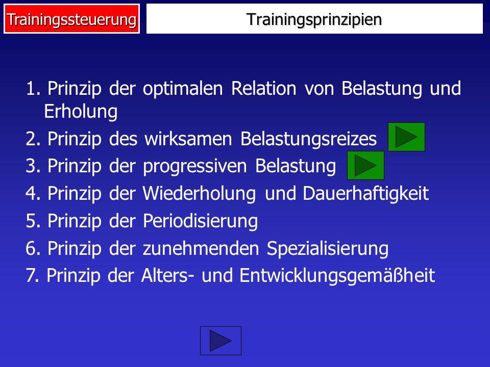Trainingssteuerung 1. Prinzip der optimalen Relation von Belastung und Erholung 2. Prinzip des wirksamen Belastungsreizes 3. Prinzip der progressiven