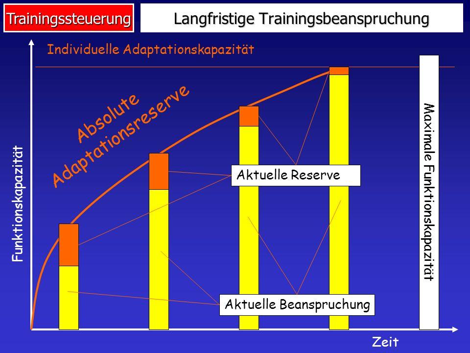 Trainingssteuerung Probleme des langfristigen Aufbaus Jüngere oder Leistungsschwächere: Überschreiten der aktuellen Funktions- kapazität (=Übertraining, Overtraining) Verfrühtes Ausschöpfen der Adaptationsreserve (z.B.