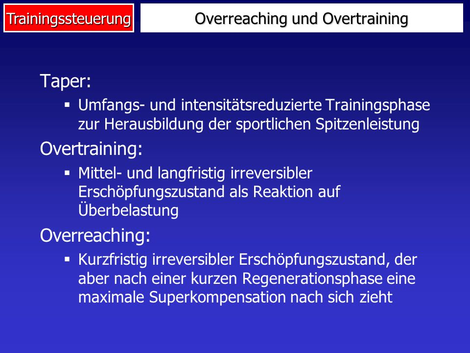 Trainingssteuerung Altersgang der Adaptationsreserve 0104020307080905060 Maximale Funktionskapazität Normale Belastung Altersleistungssport Adaptations- reserve