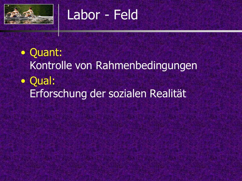 Labor - Feld Quant: Kontrolle von Rahmenbedingungen Qual: Erforschung der sozialen Realität