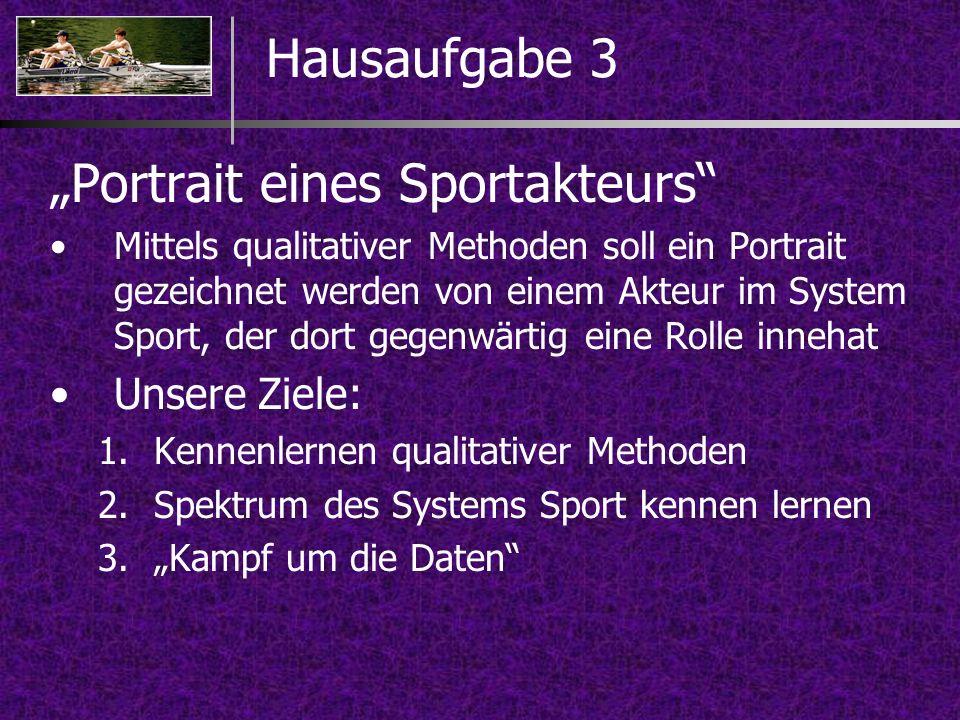 Portrait eines Sportakteurs Mittels qualitativer Methoden soll ein Portrait gezeichnet werden von einem Akteur im System Sport, der dort gegenwärtig e