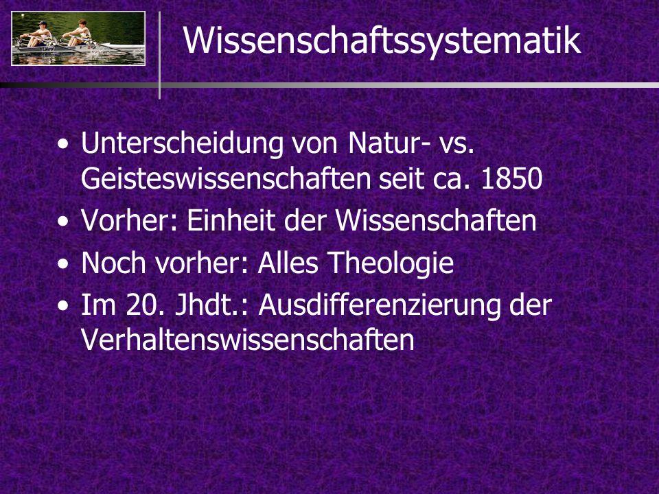 Unterscheidung von Natur- vs. Geisteswissenschaften seit ca. 1850 Vorher: Einheit der Wissenschaften Noch vorher: Alles Theologie Im 20. Jhdt.: Ausdif