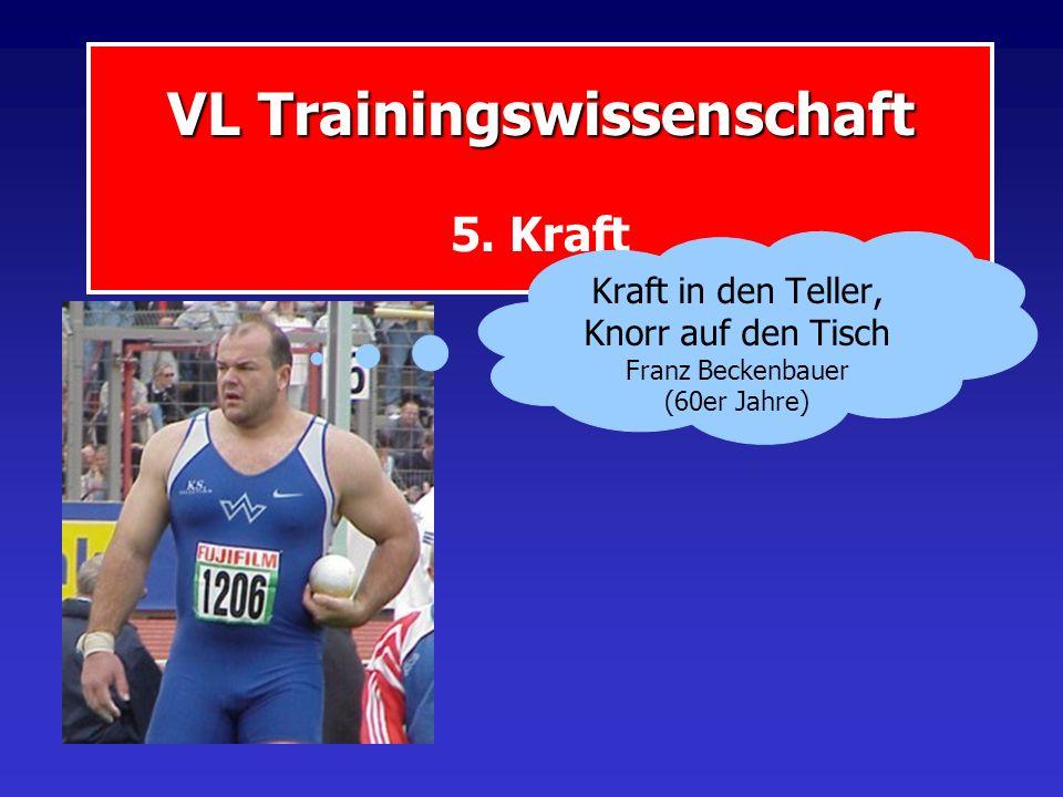 VL Trainingswissenschaft VL Trainingswissenschaft 5. Kraft Kraft in den Teller, Knorr auf den Tisch Franz Beckenbauer (60er Jahre)