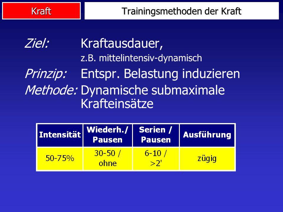 Kraft Ziel: Kraftausdauer, z.B. mittelintensiv-dynamisch Prinzip: Entspr. Belastung induzieren Methode: Dynamische submaximale Krafteinsätze Trainings