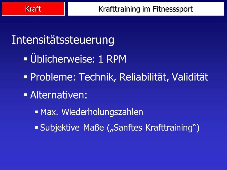 Kraft Intensitätssteuerung Üblicherweise: 1 RPM Probleme: Technik, Reliabilität, Validität Alternativen: Max. Wiederholungszahlen Subjektive Maße (San