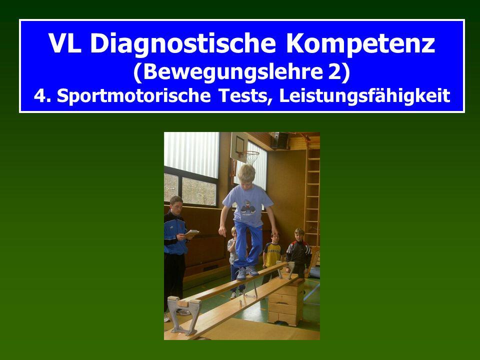 VL Diagnostische Kompetenz (Bewegungslehre 2) 4. Sportmotorische Tests, Leistungsfähigkeit