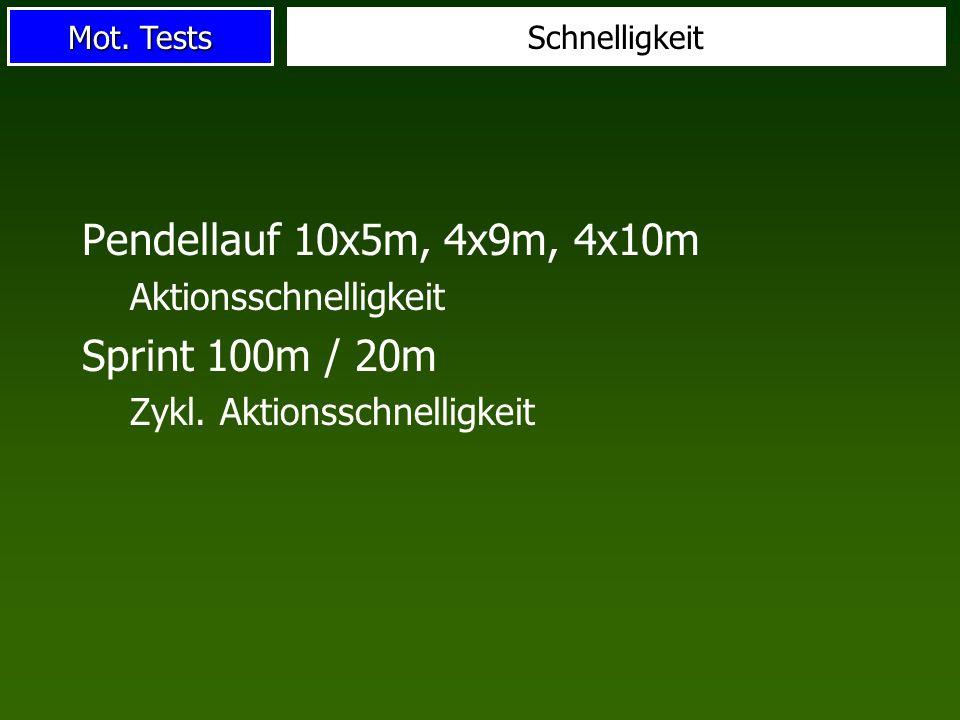 Mot.Tests Schnelligkeit Pendellauf 10x5m, 4x9m, 4x10m Aktionsschnelligkeit Sprint 100m / 20m Zykl.