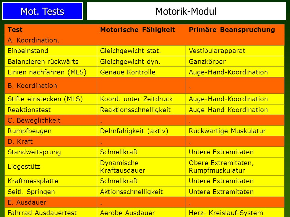 Mot.Tests Motorik-Modul TestMotorische FähigkeitPrimäre Beanspruchung A.