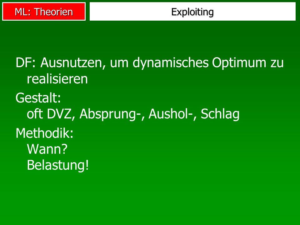 ML: Theorien Exploiting DF: Ausnutzen, um dynamisches Optimum zu realisieren Gestalt: oft DVZ, Absprung-, Aushol-, Schlag Methodik: Wann? Belastung!