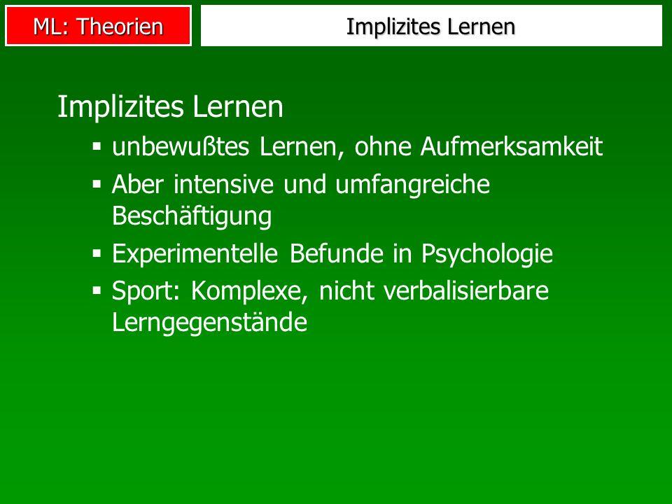 ML: Theorien Implizites Lernen unbewußtes Lernen, ohne Aufmerksamkeit Aber intensive und umfangreiche Beschäftigung Experimentelle Befunde in Psycholo