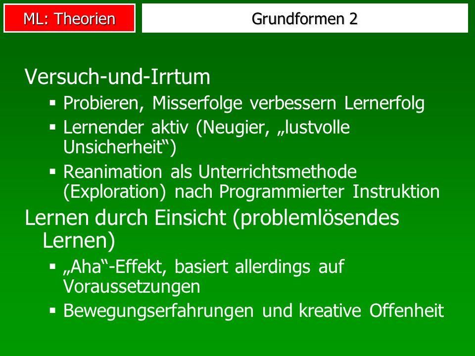 ML: Theorien Grundformen 2 Versuch-und-Irrtum Probieren, Misserfolge verbessern Lernerfolg Lernender aktiv (Neugier, lustvolle Unsicherheit) Reanimati