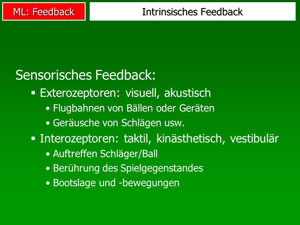 ML: Feedback Intrinsisches Feedback Sensorisches Feedback: Exterozeptoren: visuell, akustisch Flugbahnen von Bällen oder Geräten Geräusche von Schläge