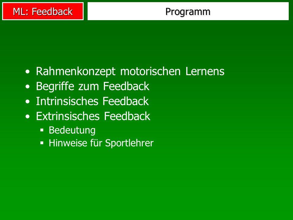 ML: Feedback Programm Rahmenkonzept motorischen Lernens Begriffe zum Feedback Intrinsisches Feedback Extrinsisches Feedback Bedeutung Hinweise für Spo