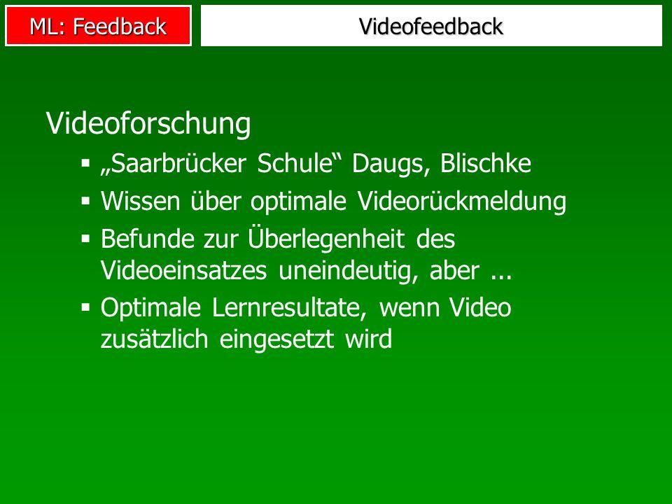 ML: Feedback Videofeedback Videoforschung Saarbrücker Schule Daugs, Blischke Wissen über optimale Videorückmeldung Befunde zur Überlegenheit des Video