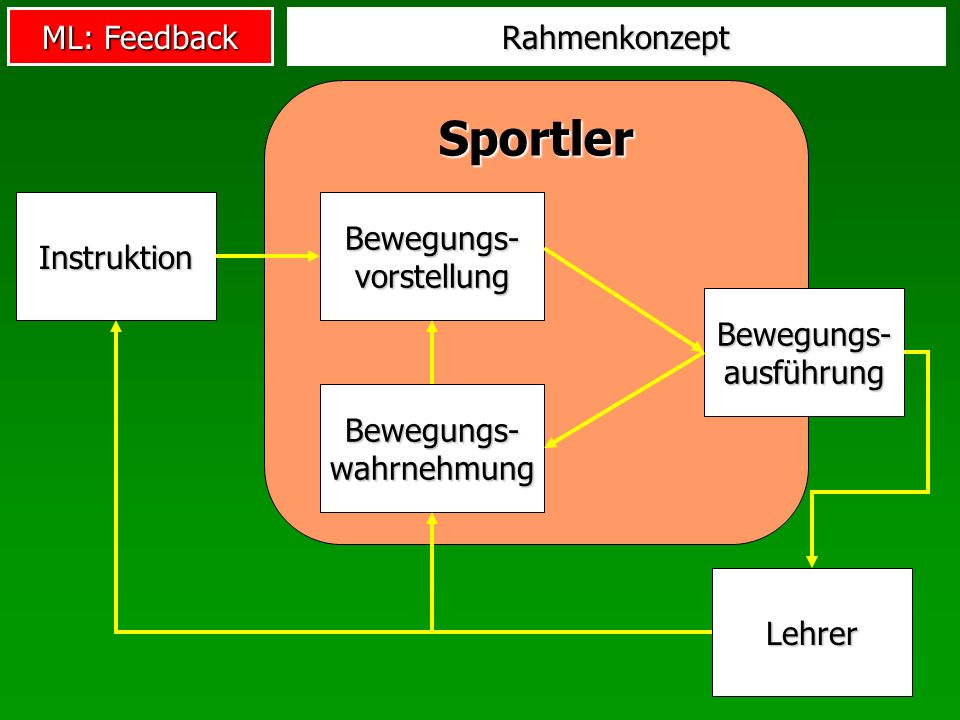 ML: Feedback Sportler Rahmenkonzept Instruktion Bewegungs- vorstellung Bewegungs- ausführung Bewegungs- wahrnehmung Lehrer