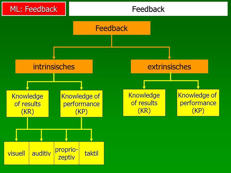 ML: Feedback Feedback Feedback intrinsischesextrinsisches visuellauditiv proprio- zeptiv taktil Knowledge of results (KR) Knowledge of performance (KP