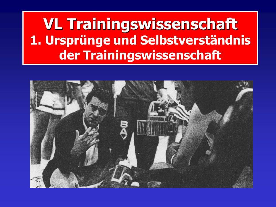 VL Trainingswissenschaft VL Trainingswissenschaft 1. Ursprünge und Selbstverständnis der Trainingswissenschaft