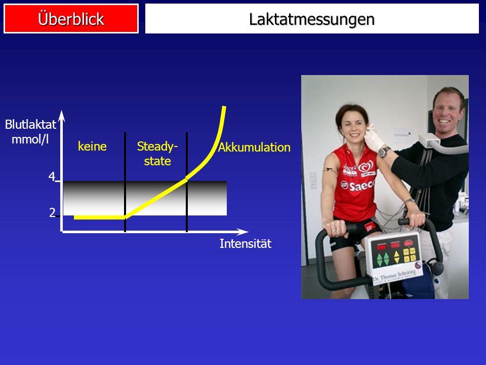 ÜberblickLaktatmessungen 4 2 Blutlaktat mmol/l Intensität keineSteady- state Akkumulation