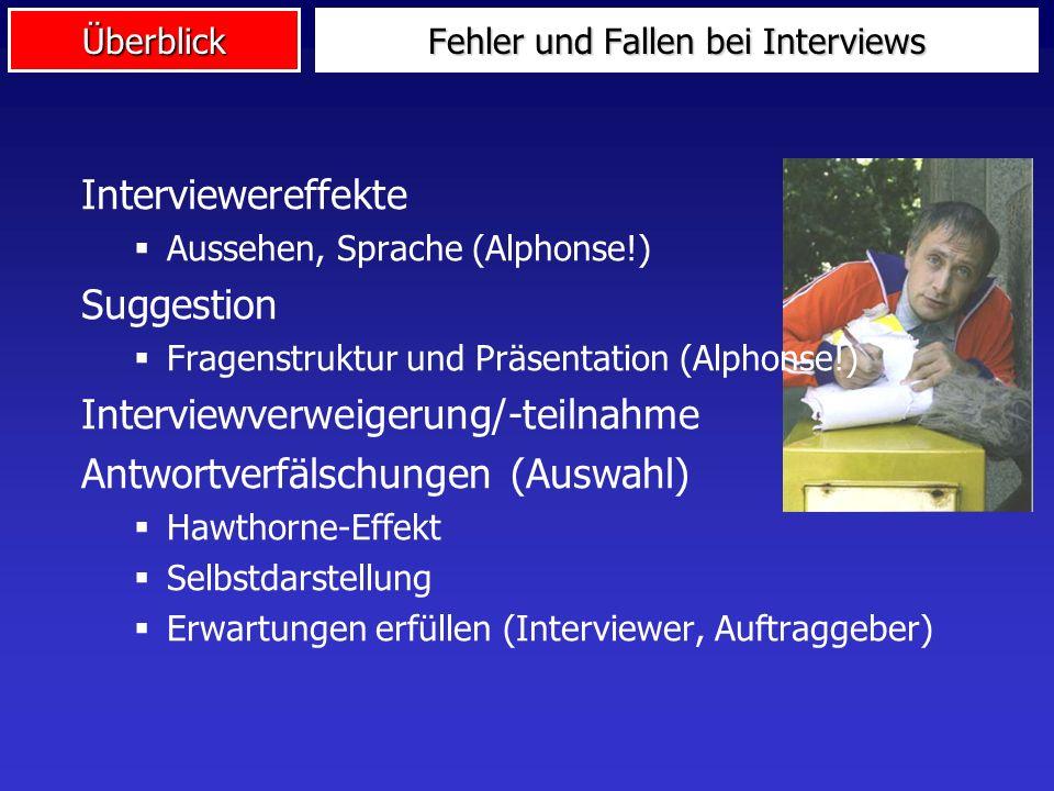 Überblick Fehler und Fallen bei Interviews Interviewereffekte Aussehen, Sprache (Alphonse!) Suggestion Fragenstruktur und Präsentation (Alphonse!) Int
