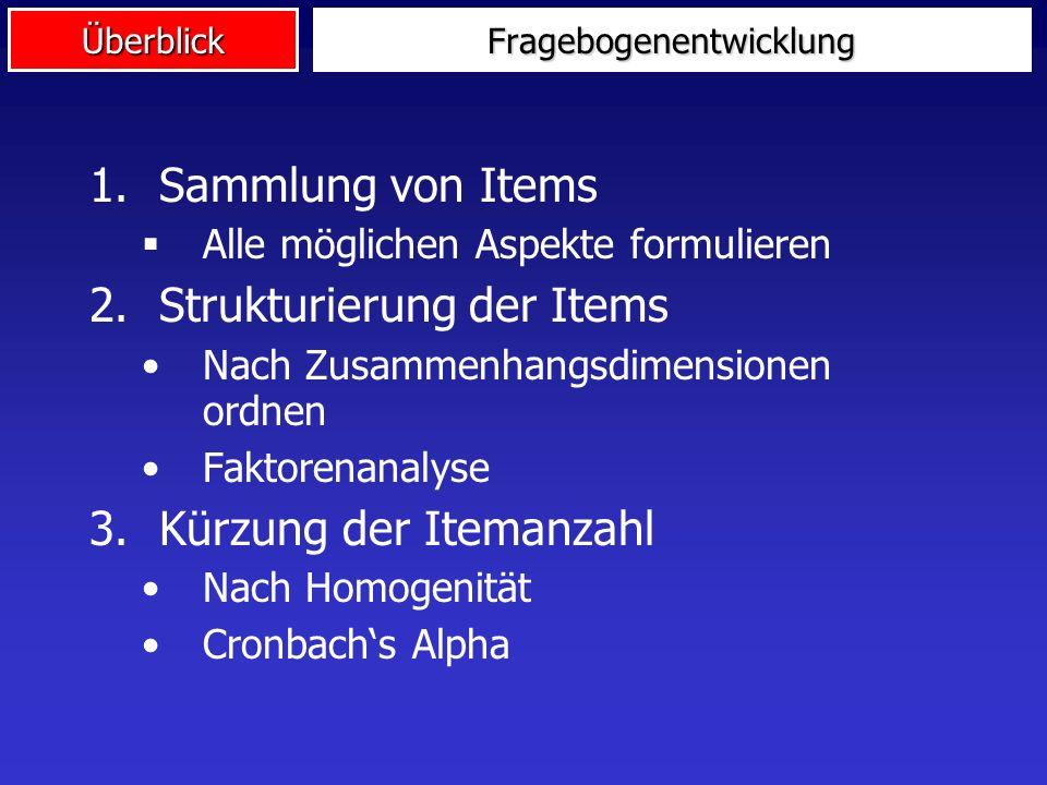 ÜberblickFragebogenentwicklung 1.Sammlung von Items Alle möglichen Aspekte formulieren 2.Strukturierung der Items Nach Zusammenhangsdimensionen ordnen