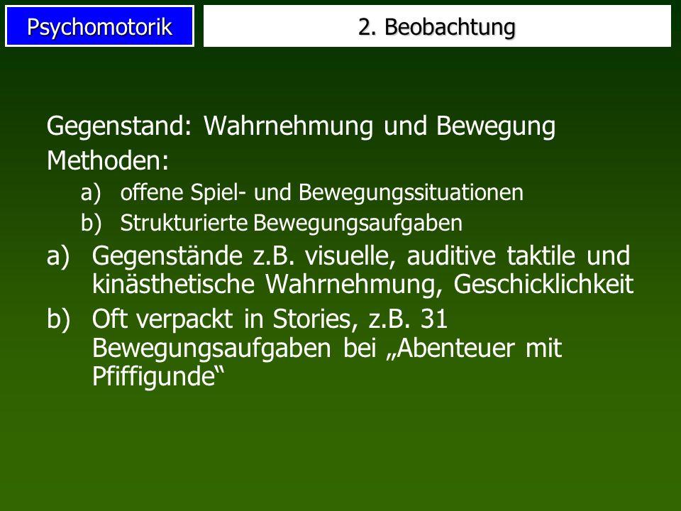 Psychomotorik 2. Beobachtung Gegenstand: Wahrnehmung und Bewegung Methoden: a)offene Spiel- und Bewegungssituationen b)Strukturierte Bewegungsaufgaben